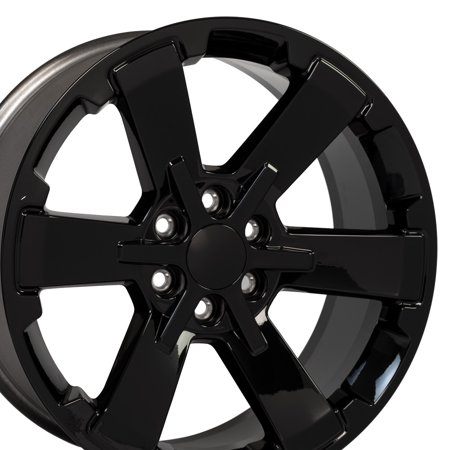 OE Wheels 22 Inch Fits Chevy Silverado Tahoe GMC Sierra Yukon Cadillac Escalade Silverado Style Flow Formed CV41 22x9 Rims Gloss Black Hollander 5662