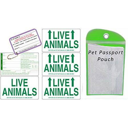 Live Animal Label Set of 5 w/ Pet Passport Pouch GREEN ()