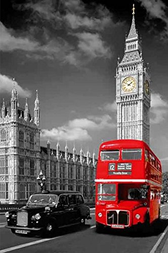The Houses of Parliament Big Ben red Bus London photograph picture poster print