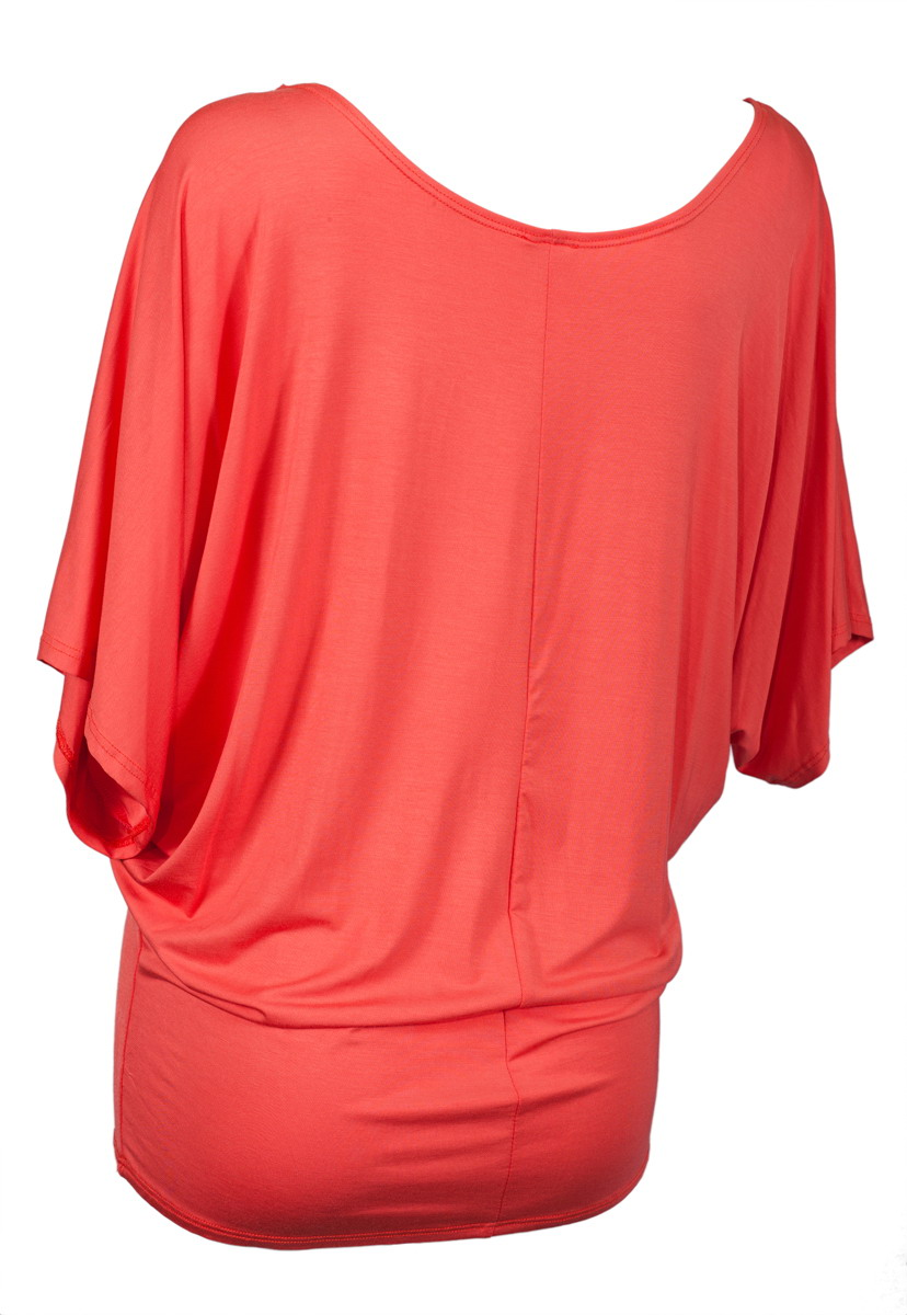f00adee04c563b eVogues Apparel - eVogues Plus Size Dolman Sleeve Top Coral - Walmart.com