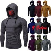 SUNSIOM Men's Drawstring Zipper Skull Mask Hoodie Sweatshirt Hooded Tops Streetwear