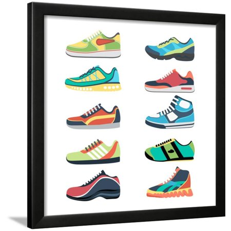 Sports Shoes Vector Set. Fashion Sportwear, Everyday Sneaker, Footwear Clothing Illustration Framed Print Wall Art By