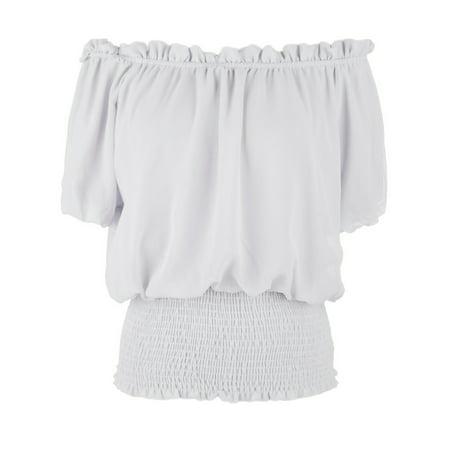 Women Juniors Short Sleeve Ruffle Stretch Off Shoulder Shirt Blouse Tops