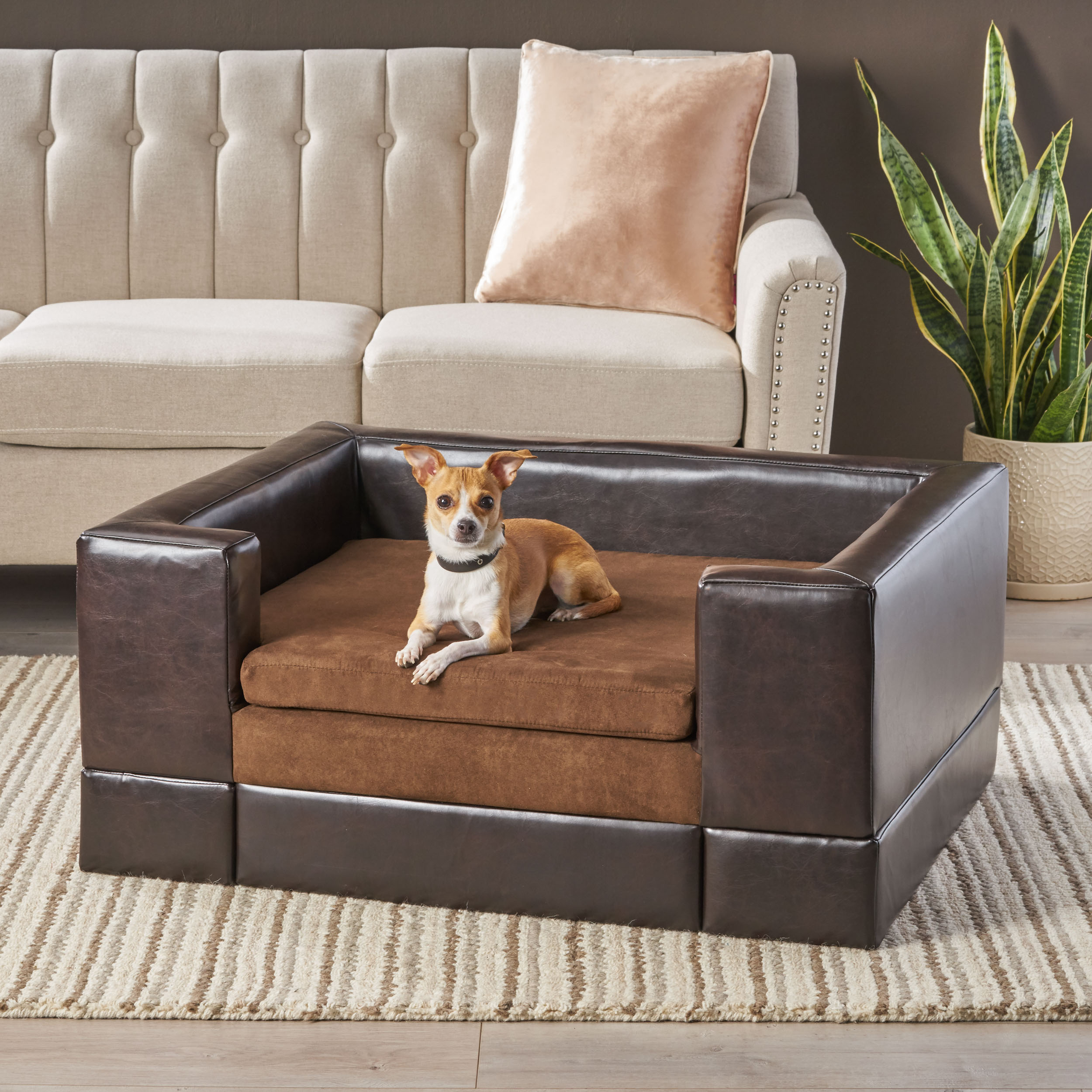 Details about Noble House Poochi Large Rectangular Cushy Dog Sofa