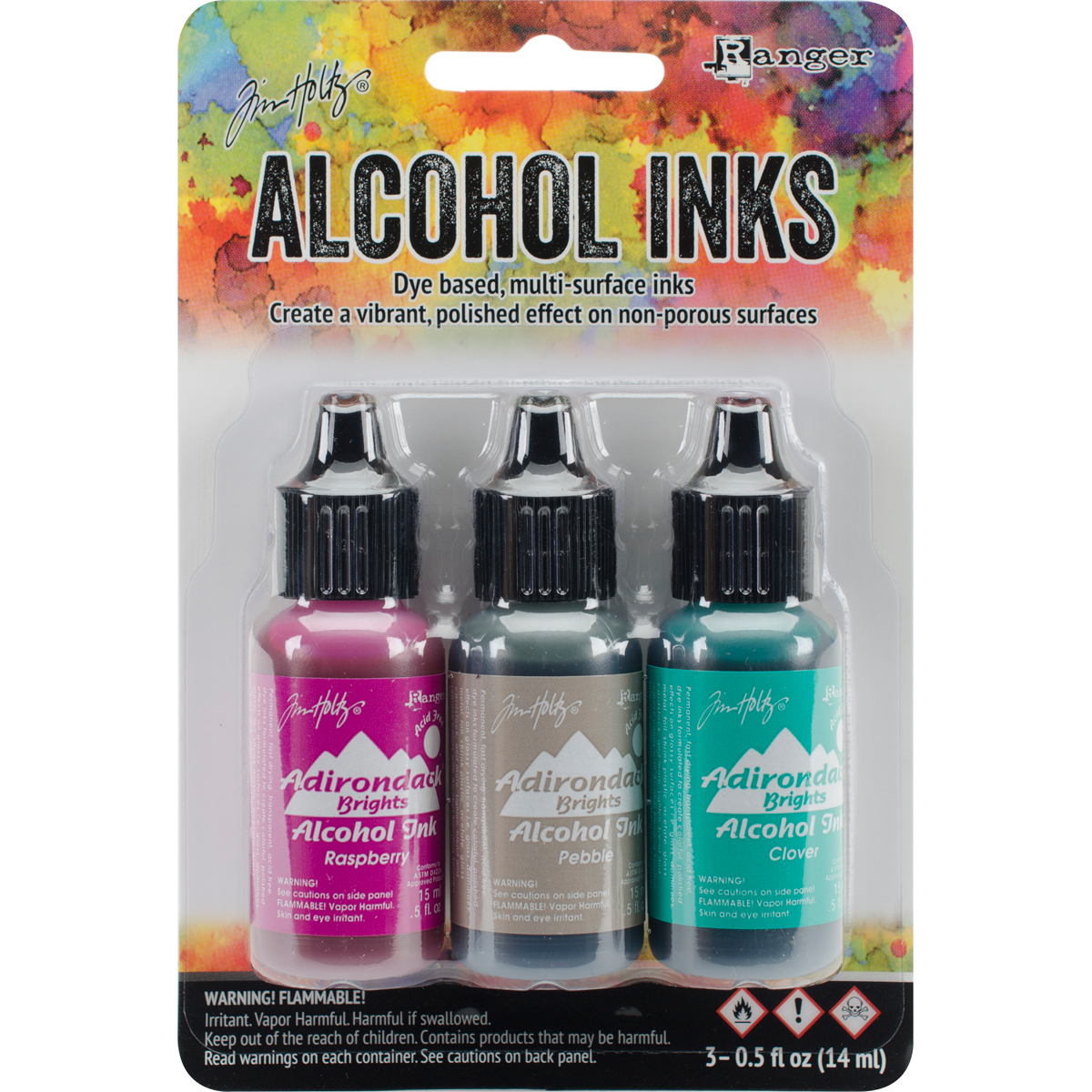 Tim Holtz Alcohol Ink .5oz 3/Pkg-Valley Trail-Raspberry/Pebble/Clover