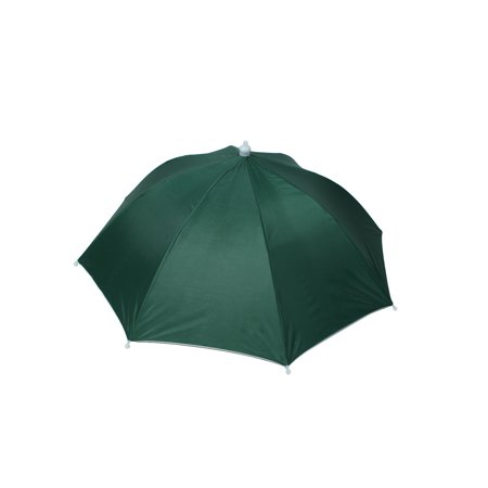 Outdoor Fishing Camping Hands Free Folding Umbrella Hat Headwear Cap Dark Green (Fishing Umbrella Hat)