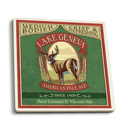 Lake Geneva, Wisconsin - Deer Pale Ale Vintage Sign - Lantern Press Poster (Set of 4 Ceramic Coasters - Cork-backed, (Lace Lantern)