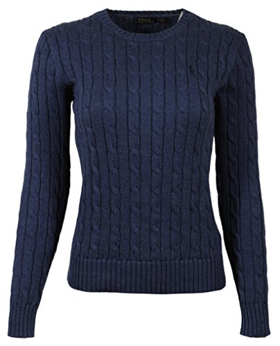 POLO RALPH LAUREN WOMENS CABLE-KNIT COTTON SWEATER, BLUE, SMALL - image 1 of 1
