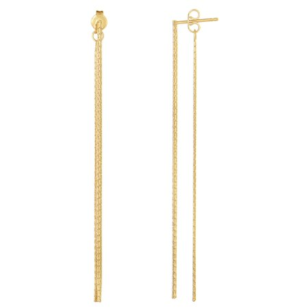 14K Yellow Gold Diamond Cut Multi Stranded Chain Front And Back Style Drop Earrings