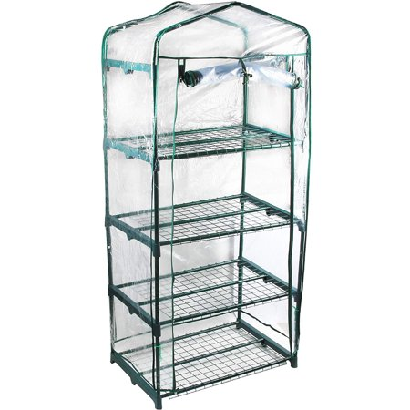 GENESIS 4 Tier Portable Rolling Greenhouse with Clear Cover ()