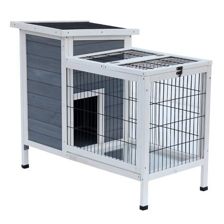 Pawhut Outdoor 36 in. Elevated Rabbit Hutch