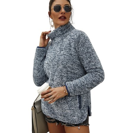 Women Turtleneck Fuzzy Fleece Knitted Sweatshirt Tops Winter Jumpers Pullover Sweater Ladies Casual Long Sleeve Knitwear
