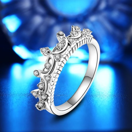 New Fashion Gold Pretty Crown Lady Crystal Ring Princess Ring Sliver 8