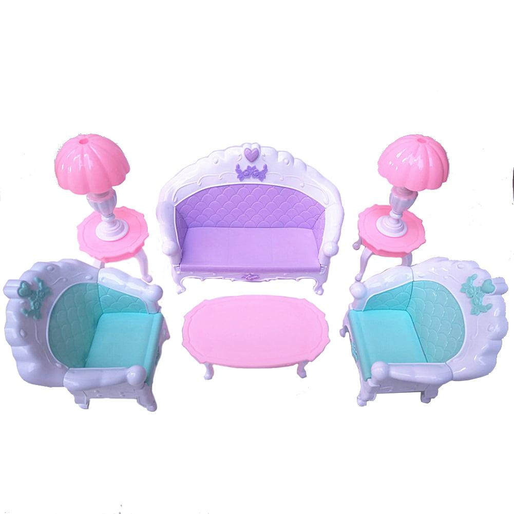 6 Pcs/Set Doll House Set Kids Mini Furniture Toys Sofa Lamp Tea Table Decor Classic Kids Toy Gift Color:Figure a set of six - image 5 de 5