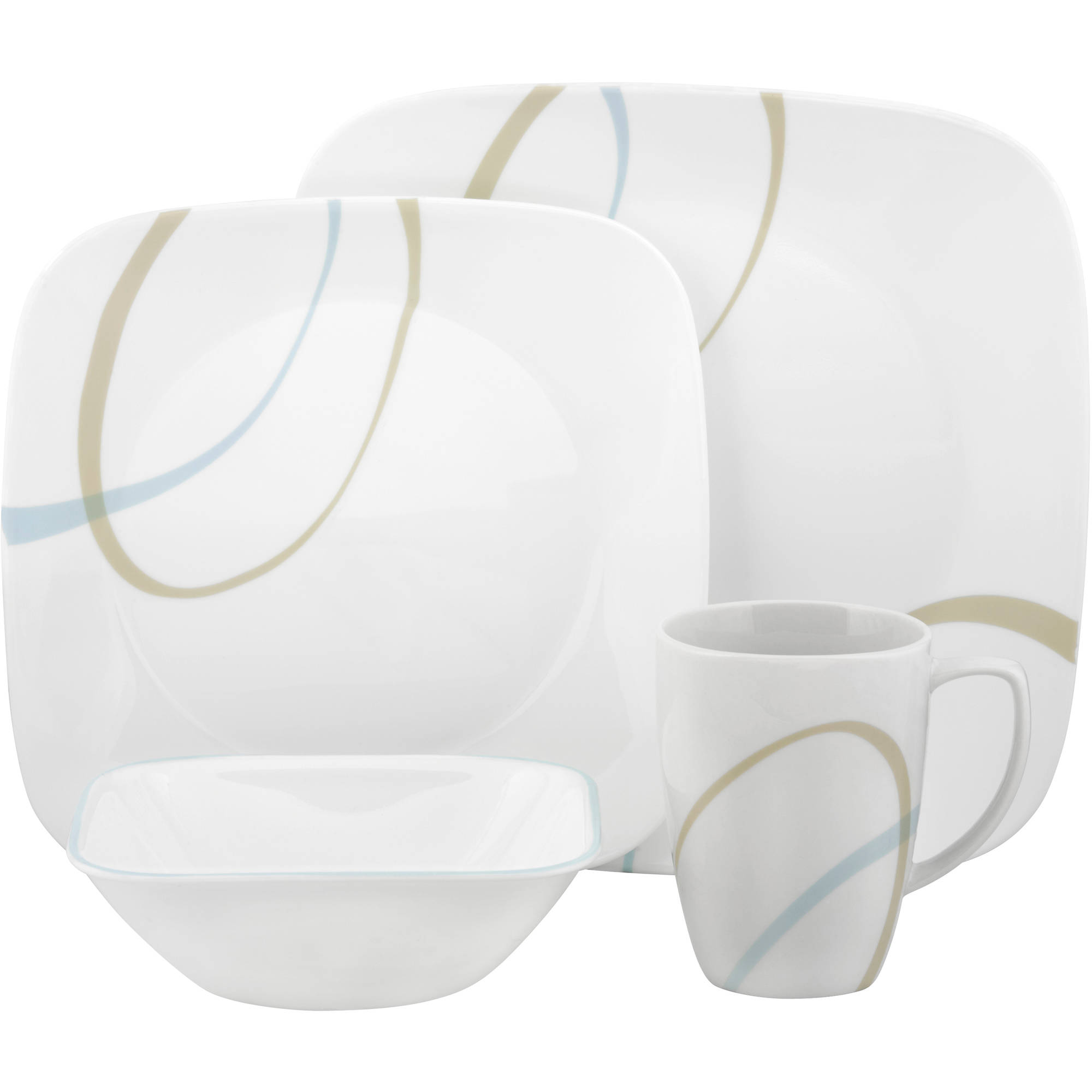 Corelle Squares Sand and Sky 16-Piece Dinnerware Set