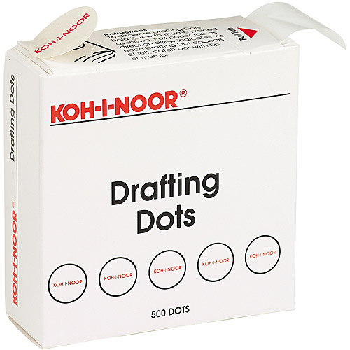 "Koh-I-Noor Adhesive Drafting Dots with Dispenser, 7/8"" Diameter, White, 500/Box"