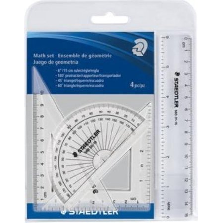 4 Piece Math Set, This math set includes a 6-in./15-centimeter ruler, a 180-degree protractor, a 45-degree By (Staedtler Arco Compass Set)