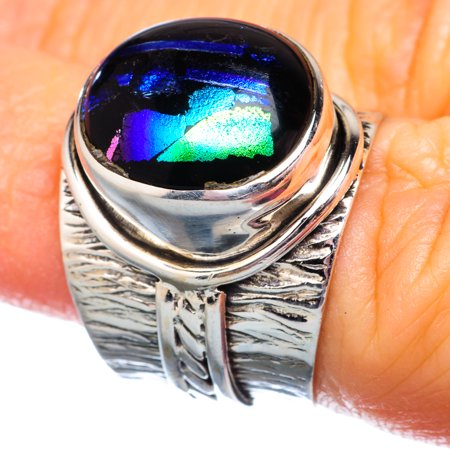 Dichroic Glass Ring Size 5.75 (925 Sterling Silver)  - Handmade Boho Vintage Jewelry RING932062