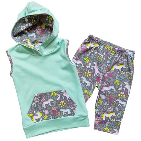 So Sydney Girl's & Toddler 2 Piece Spring & Summer Hoodie & Capri Novelty Boutique Outfit (Boutique For Toddlers)