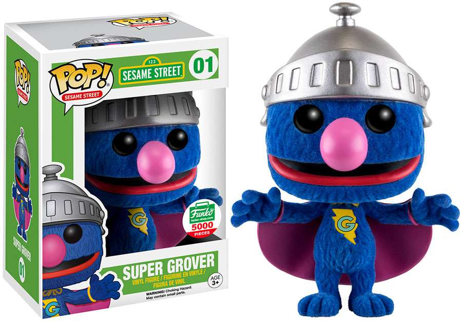 Sesame Street Funko POP! Television Super Grover Vinyl Figure [Flocked] by
