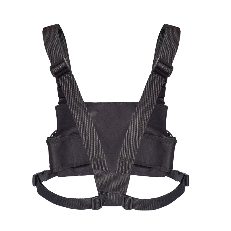 Universal Radio Harness Chest Rig Vest Hands Chest Pocket Harness Bag Black