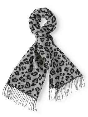 Scoop Fuzzy Wide Animal Print Fringe Scarf Women's