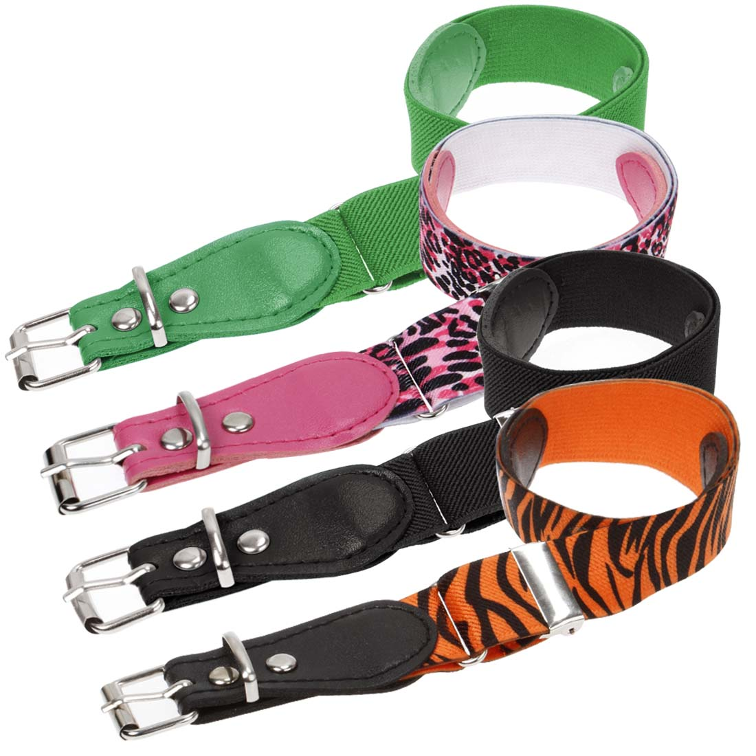 Bundle Monster 4pc Mix Design Adjustable Elastic Band Girls Fashion Stretch Belt