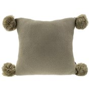 """Chunky Knit Pom Pom Design Solid Color Decorative Throw Pillow - 2 Colors (Brown, 16""""x16"""" Pillow Case+Insert)"""