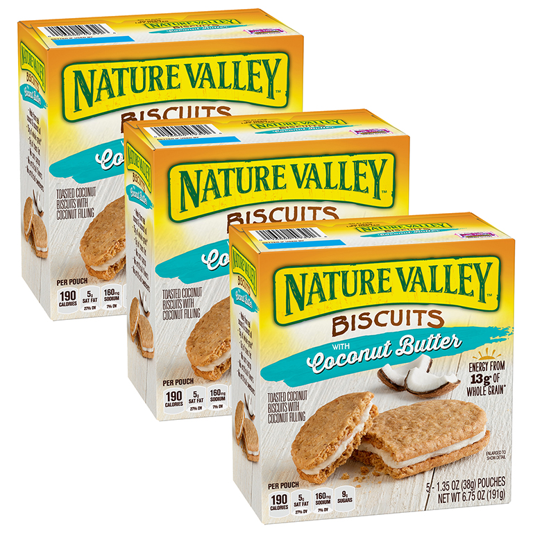 (3 Pack) Nature Valley Coconut Butter Breakfast Biscuits 5 Pouches 1.35 oz