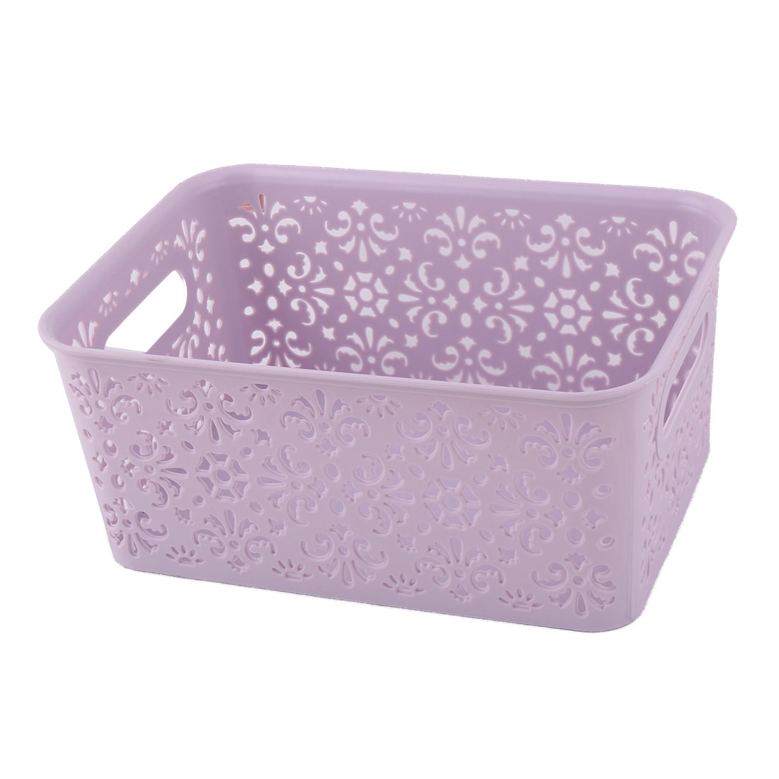 Plastic Hollow Out Design Sundries Cosmetics Organizer Storage Basket Purple