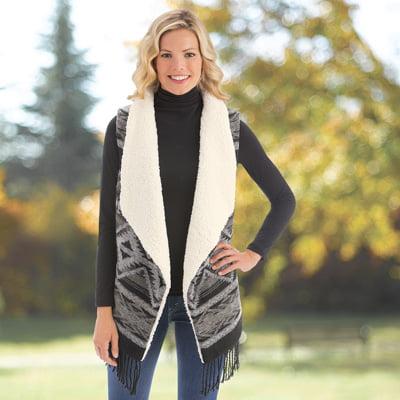 Fleece Print Vest - Women's Aztec Print Sherpa Fleece Vest with Fringe Trim, Grey, Medium/Large