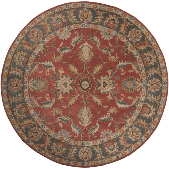 8' Vespasian Brick Red and Slate Blue Hand Tufted Round Wool Area Throw Rug