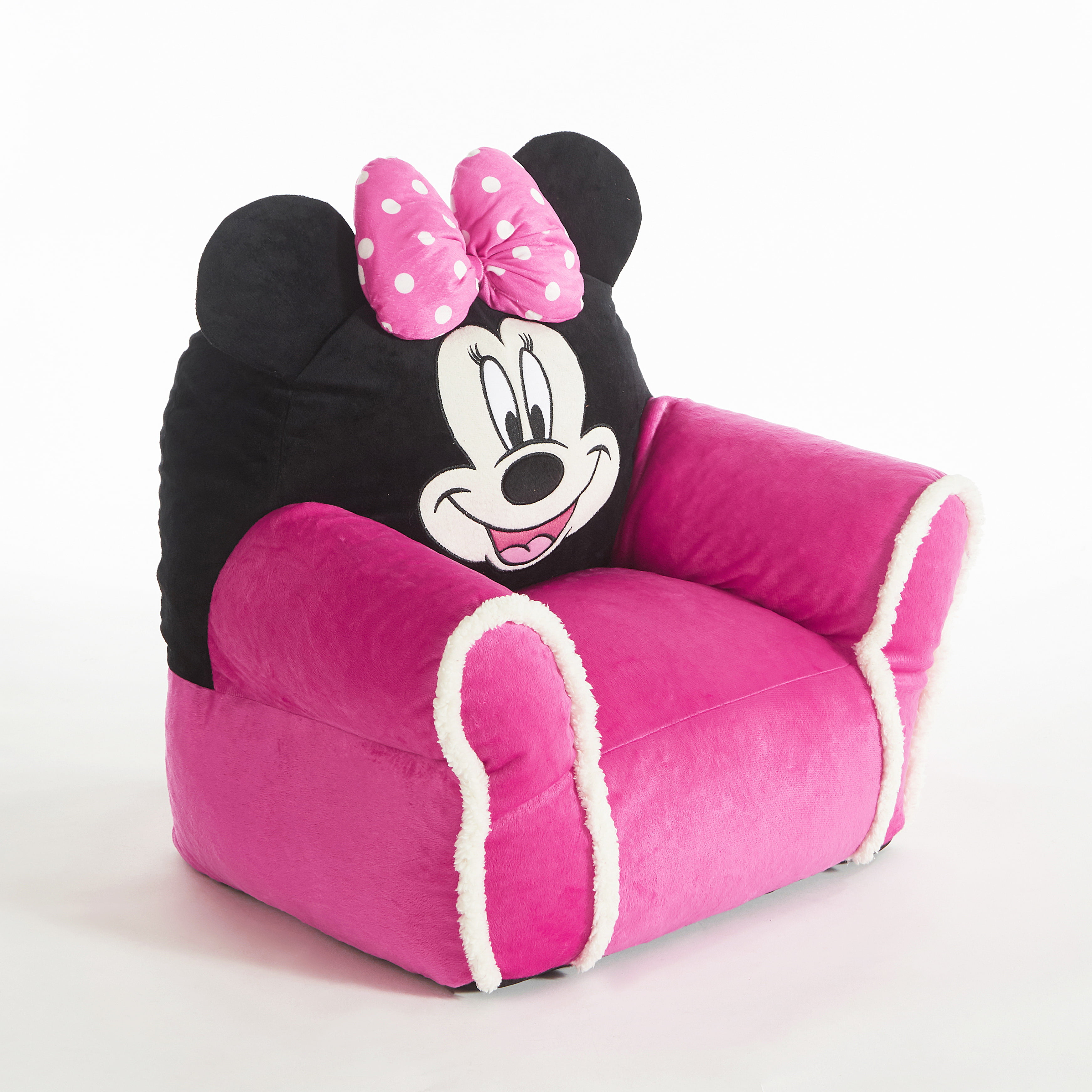 Disney Minnie Mouse Kids Figural Bean Bag with Sherpa Trimming