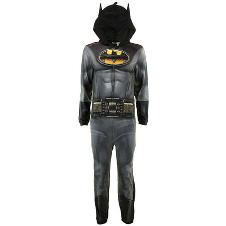 DC Comics Adult Batman Hooded Union Suit Pajamas - All In One Suits For Adults