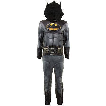 DC Comics Adult Batman Hooded Union Suit Pajamas (Batman Suit)