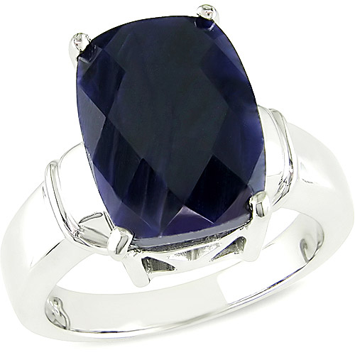 8-1/2 Carat TGW Cabochon Cushion Dyed Sapphire Sterling Silver Ring