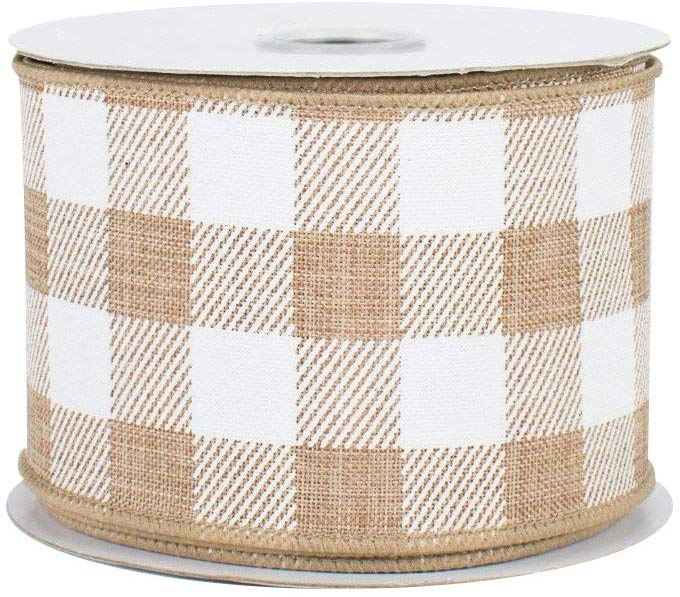 Light Tan Wired Ribbon by the Roll for Wreaths or Bows 2.5 x 10 YARD ROLL