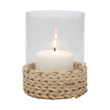 Country Rustic Braided Rope Wrapped Hurricane Pillar Candle Holder
