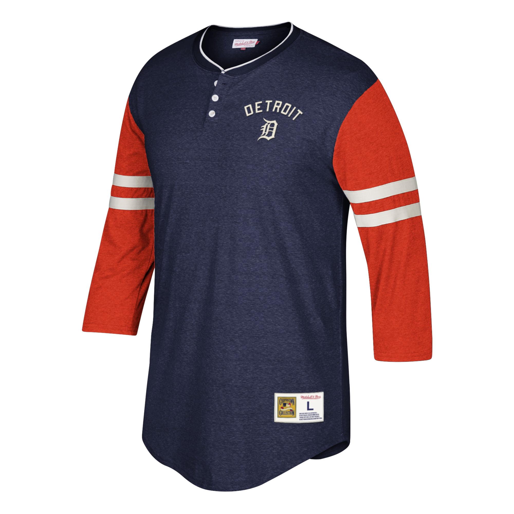 Detroit Tigers Mitchell & Ness Home Stretch 3/4-Sleeve Henley T-Shirt - Navy/Orange
