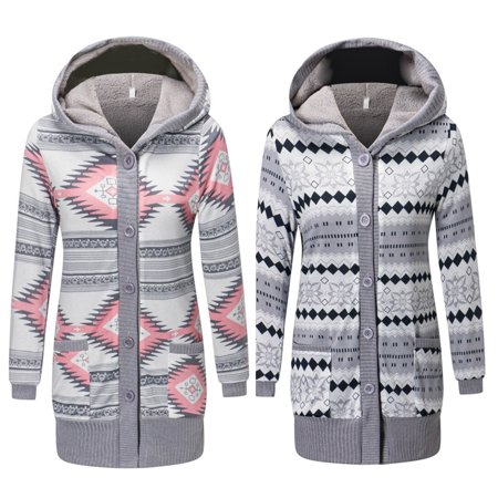 Womens Cardigan Sweaters Cable Knit Open Front Hooded Button Down Sweater Coat , Gray, M