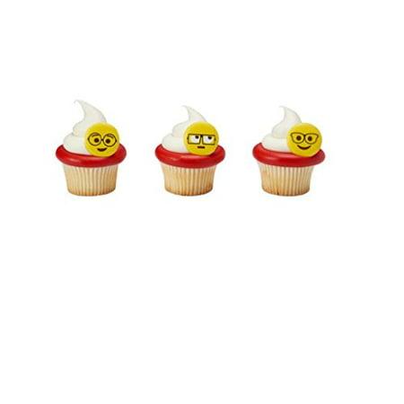 12 Emoji Emoticon with Glasses Cupcake Rings
