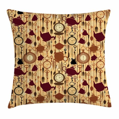 Tea Party Throw Pillow Cushion Cover, Breakfast Time Items Teacup Forks Spoons Chain Together Victorian Style Print, Decorative Square Accent Pillow Case, 16 X 16 Inches, Brown Redwood, by Ambesonne