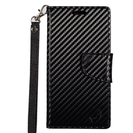 - Samsung Galaxy S8 Case, by Insten Carbon Fiber PU Leather Wallet Flip Credit Card Stand Cover Case For Samsung Galaxy S8 - Black
