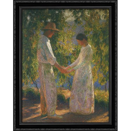 Ss Black Wood - The Lovers 28x36 Large Black Ornate Wood Framed Canvas Art by Henri Martin