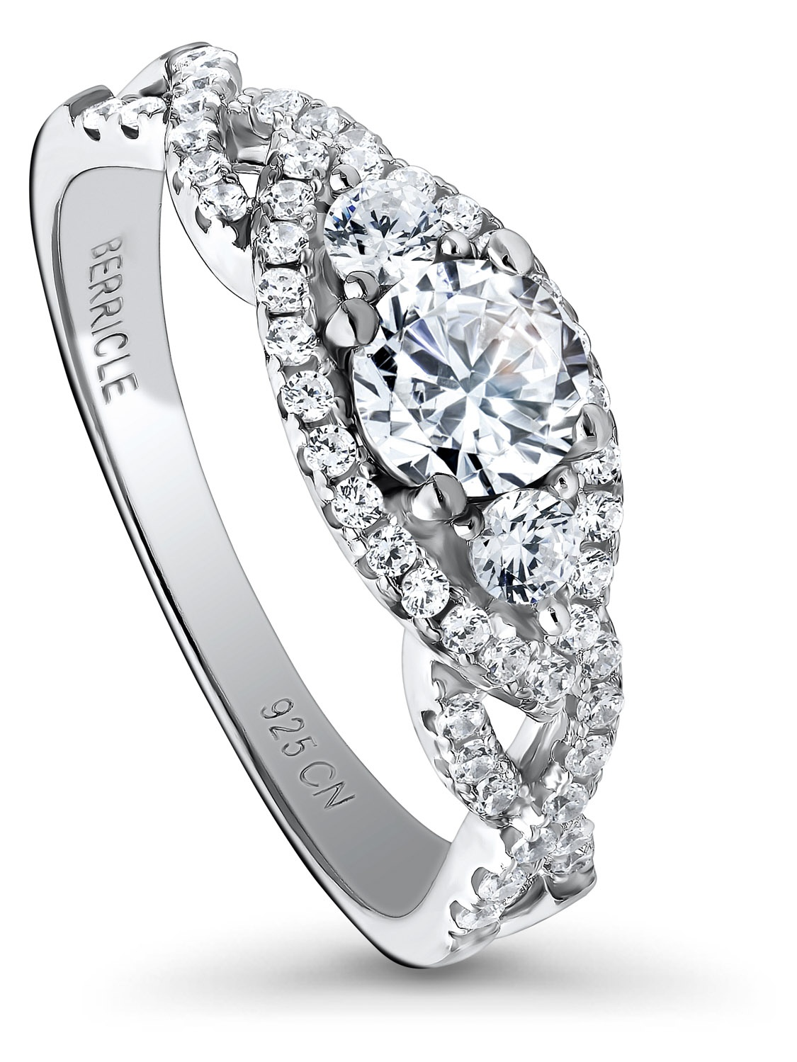 Rhodium Plated Sterling Silver Halo 3-Stone Woven Promise Ring Set w/ Swarovski Zirconia Size 10