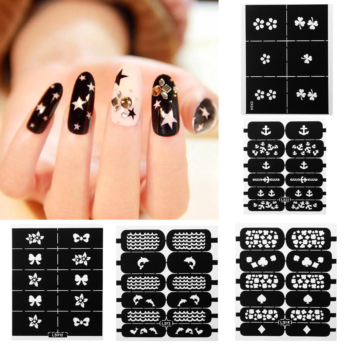 1 Sheet Nail Art Stencil Vinyls Stamp Stickers Decals Image DIY Manicure,LS002 color