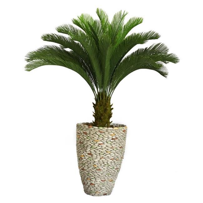 """62"""" Tall Cycas Palm Tree Artificial Contemporary Faux in 16"""" Fiberstone Planter By Minx NY"""