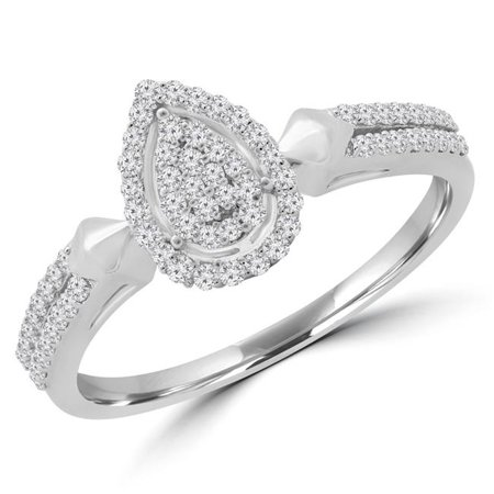 Majesty Diamonds MDR190071-3.5 0.25 CTW Round Diamond Double Row Promise Pear Cluster Halo Engagement Ring in 14K White Gold - Size 3.5 - image 1 of 1