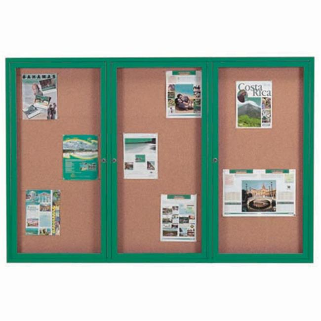 Aarco Products DCC4872-3RG 3-Door Enclosed Bulletin Board - Green