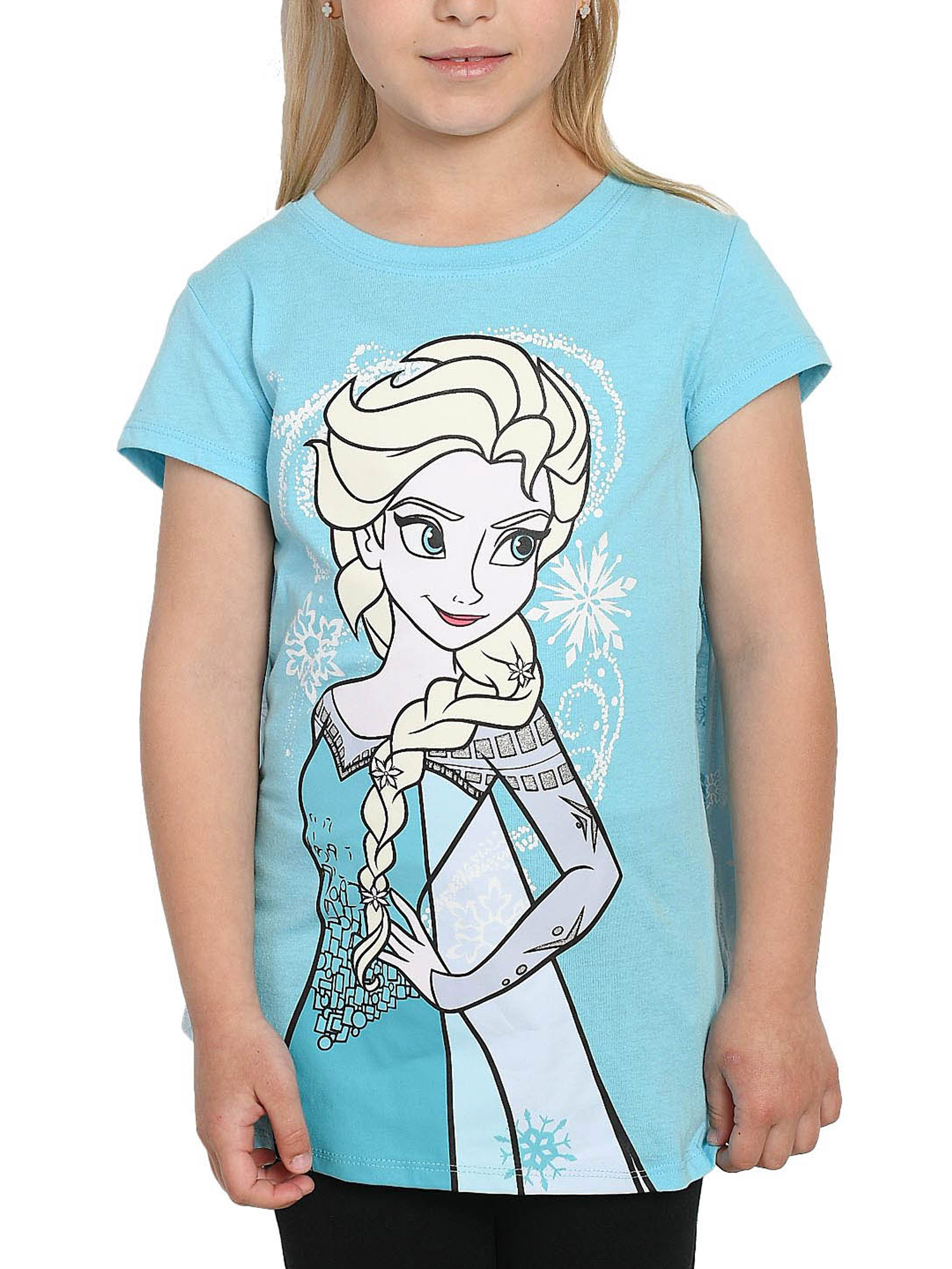 NEW Girls Graphic T-Shirt Small 6-6X Blue Frozen Princess Elsa Top Shine